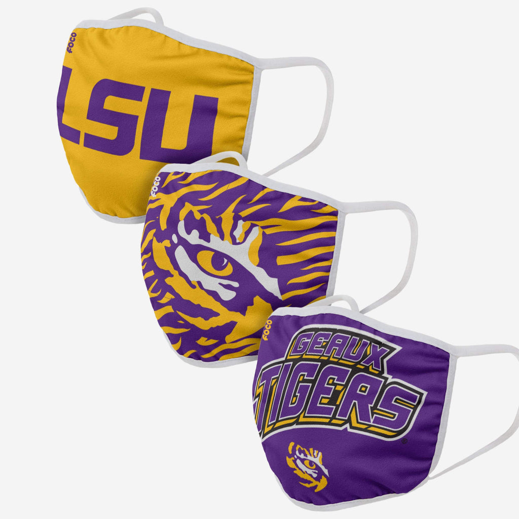 LSU Tigers Super Fan 3 Pack Face Cover FOCO - FOCO.com