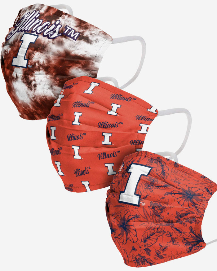 Illinois Fighting Illini Womens Matchday 3 Pack Face Cover FOCO - FOCO.com