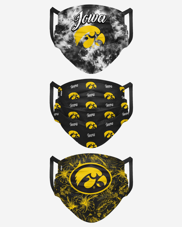 Iowa Hawkeyes Womens Matchday 3 Pack Face Cover FOCO - FOCO.com