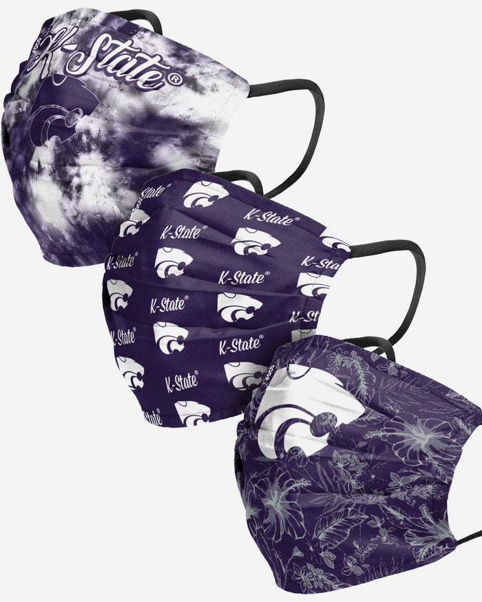 Kansas State Wildcats Womens Matchday 3 Pack Face Cover FOCO - FOCO.com