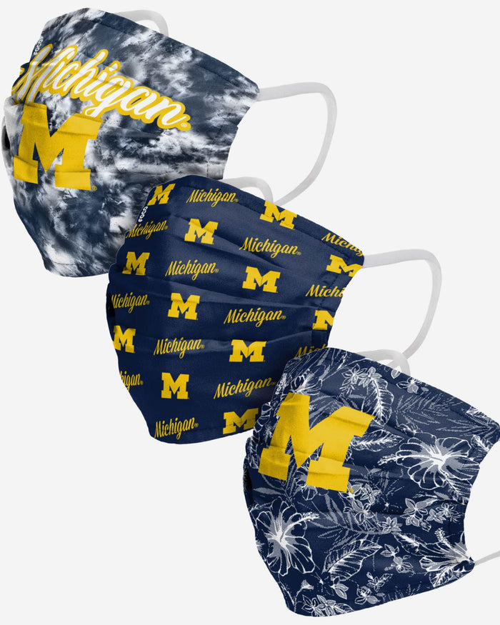 Michigan Wolverines Womens Matchday 3 Pack Face Cover FOCO - FOCO.com