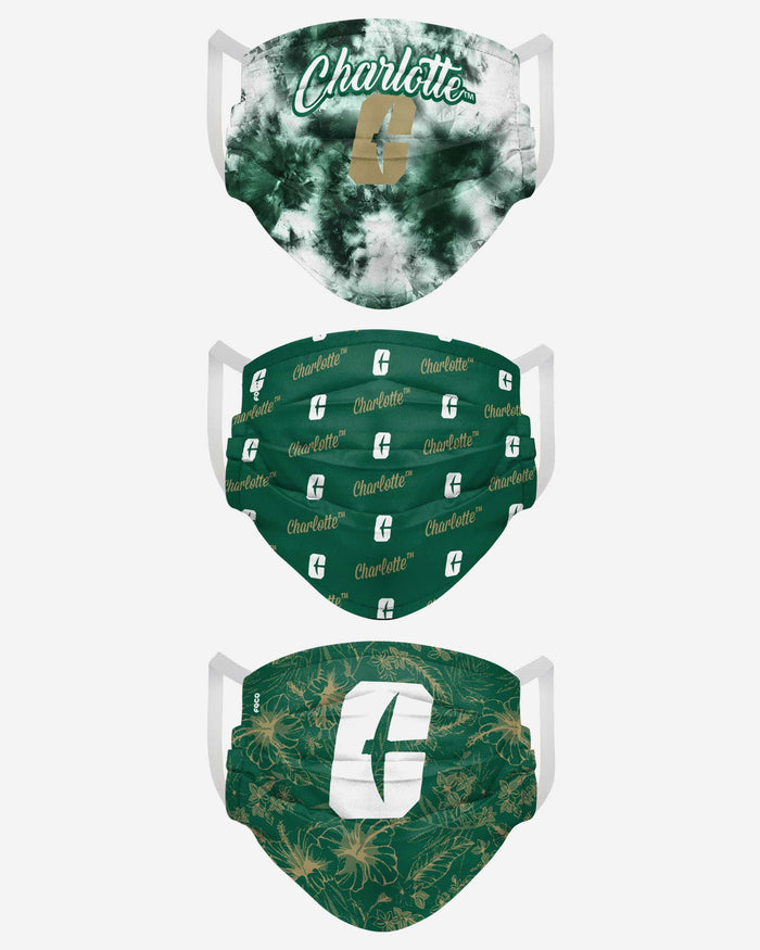North Carolina Charlotte 49ers Womens Matchday 3 Pack Face Cover FOCO - FOCO.com
