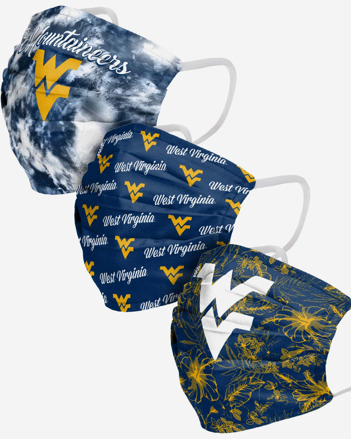 West Virginia Mountaineers Womens Matchday 3 Pack Face Cover FOCO - FOCO.com