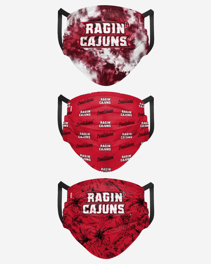 Louisiana Ragin' Cajuns Womens Matchday 3 Pack Face Cover FOCO - FOCO.com