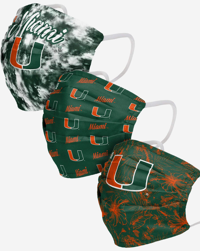 Miami Hurricanes Womens Matchday 3 Pack Face Cover FOCO - FOCO.com