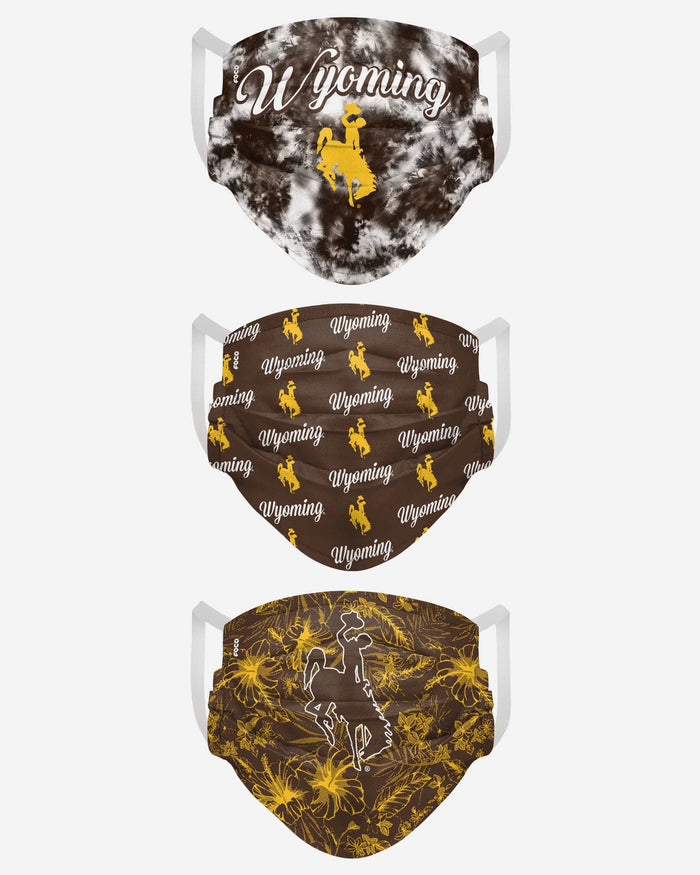 Wyoming Cowboys Womens Matchday 3 Pack Face Cover FOCO - FOCO.com