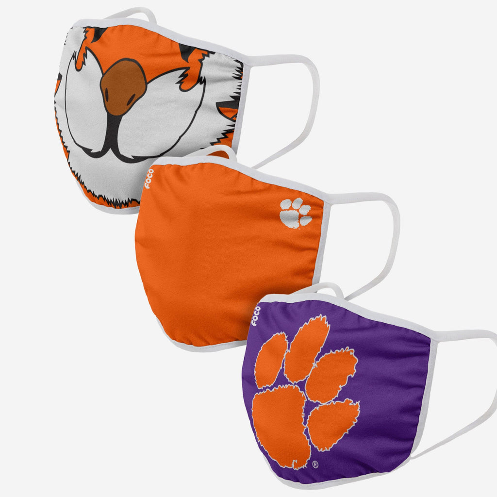 Clemson Tigers The Tiger Mascot 3 Pack Face Cover FOCO - FOCO.com