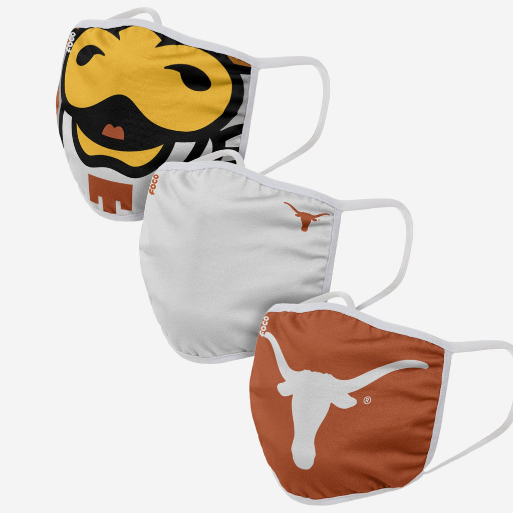 Texas Longhorns Bevo Mascot 3 Pack Face Cover FOCO - FOCO.com