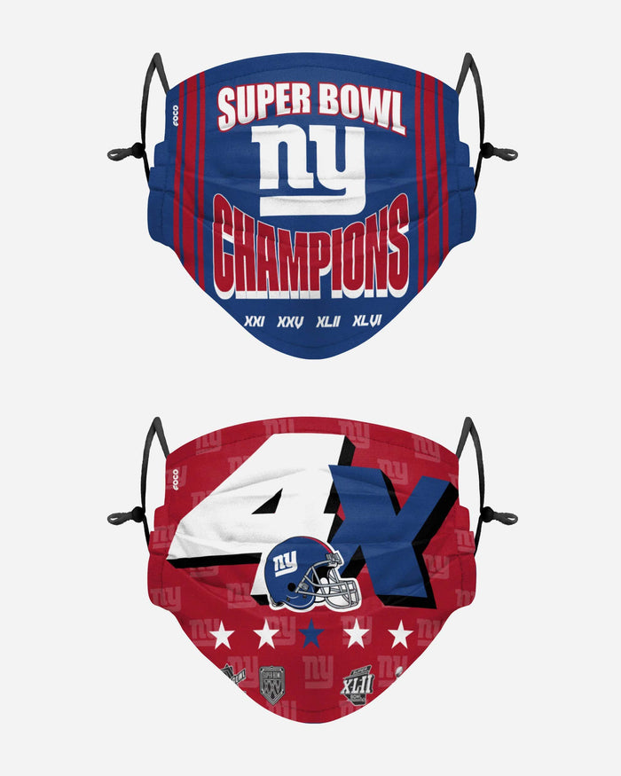 New York Giants Thematic Champions Adjustable 2 Pack Face Cover FOCO - FOCO.com