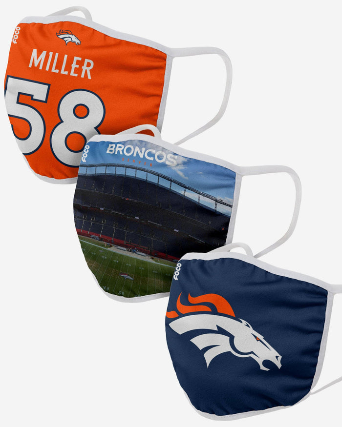 Denver Broncos Fan Fest 3 Pack Face Cover FOCO - FOCO.com