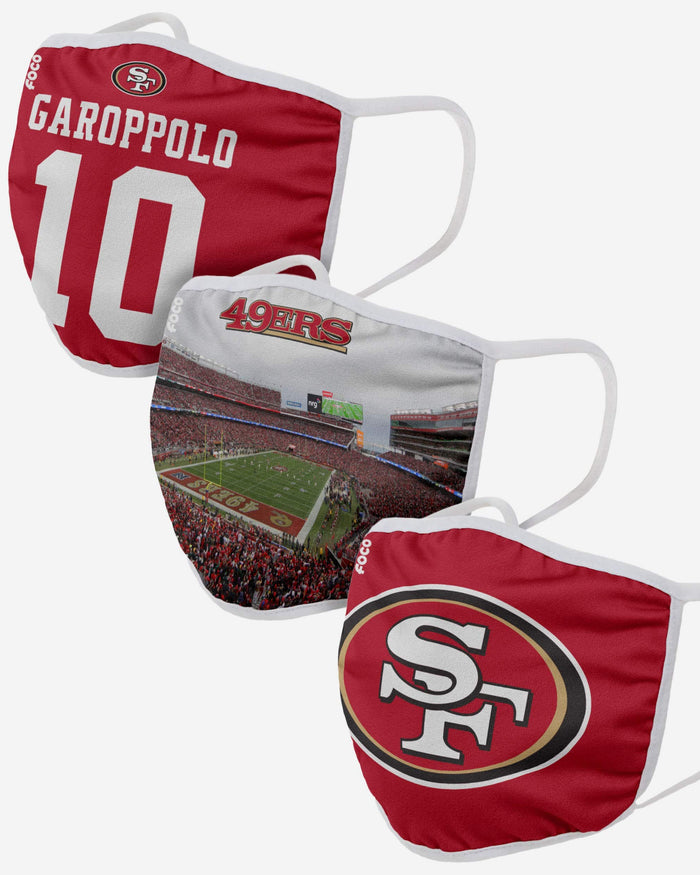 San Francisco 49ers Fan Fest 3 Pack Face Cover FOCO - FOCO.com