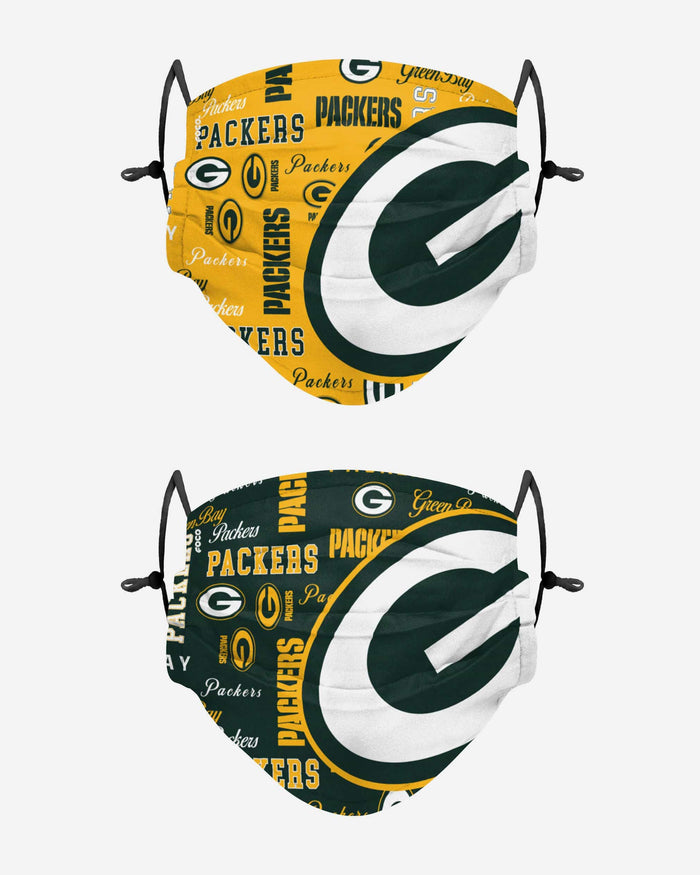 Green Bay Packers Logo Rush Adjustable 2 Pack Face Cover Foco