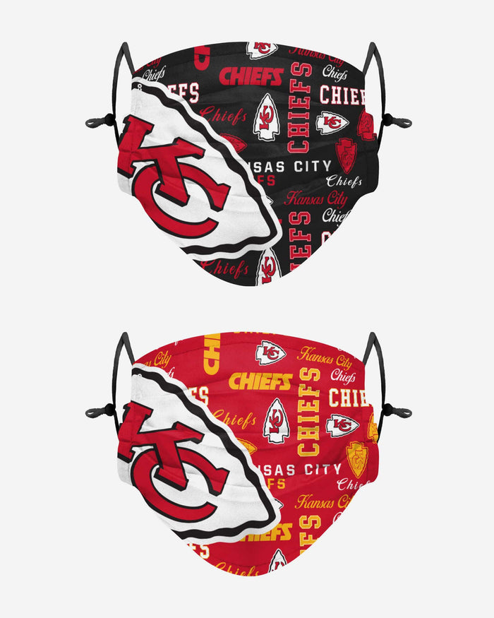 Kansas City Chiefs Logo Rush Adjustable 2 Pack Face Cover Foco