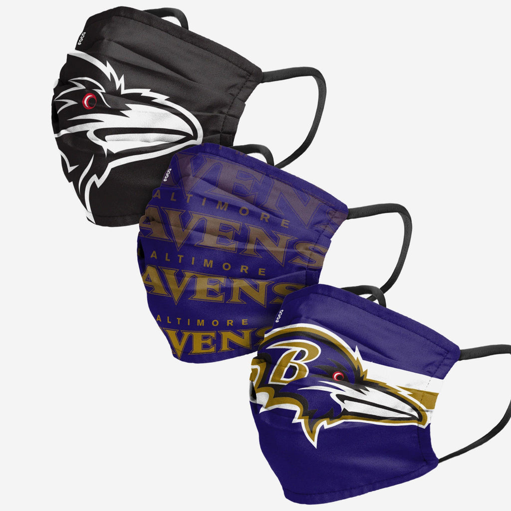 Baltimore Ravens Matchday 3 Pack Face Cover FOCO Adult - FOCO.com