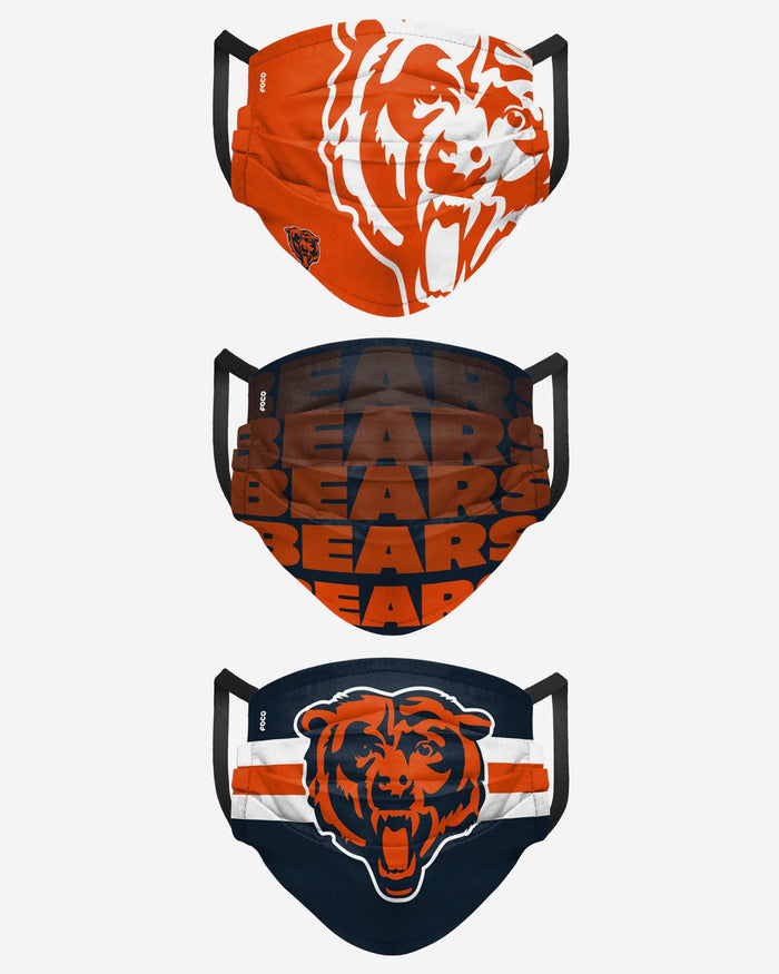 Chicago Bears Matchday 3 Pack Face Cover FOCO - FOCO.com