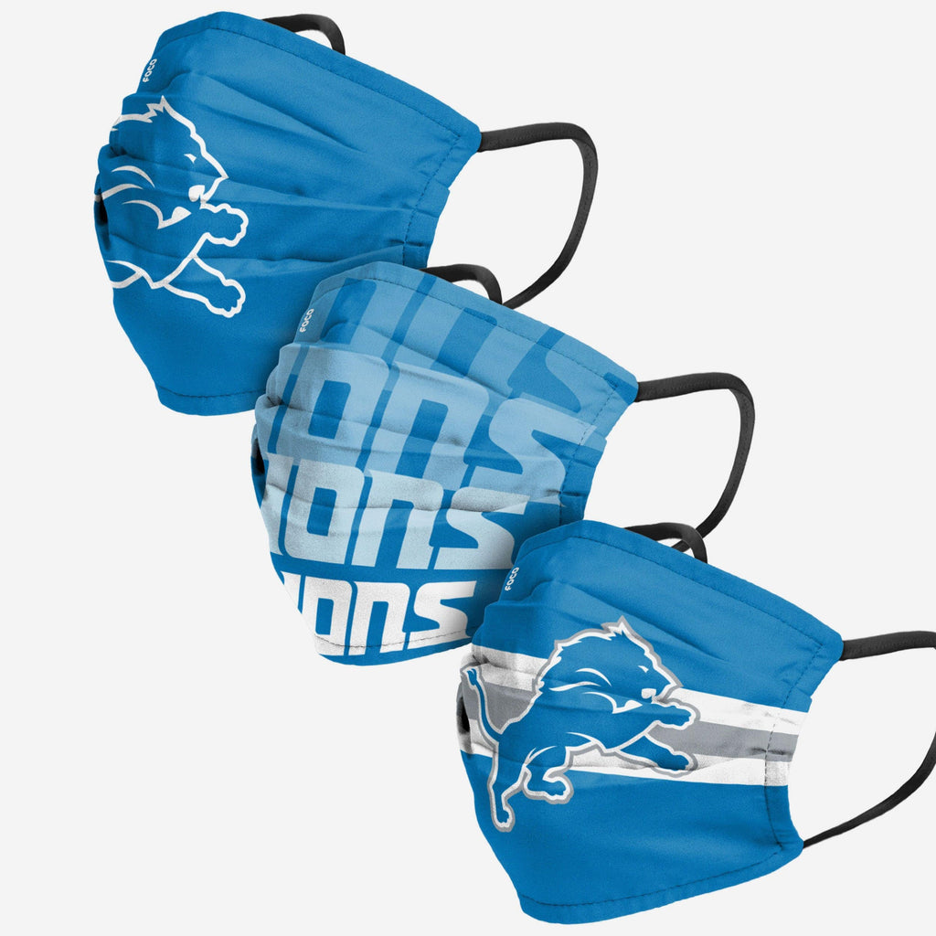 Detroit Lions Matchday 3 Pack Face Cover FOCO Adult - FOCO.com