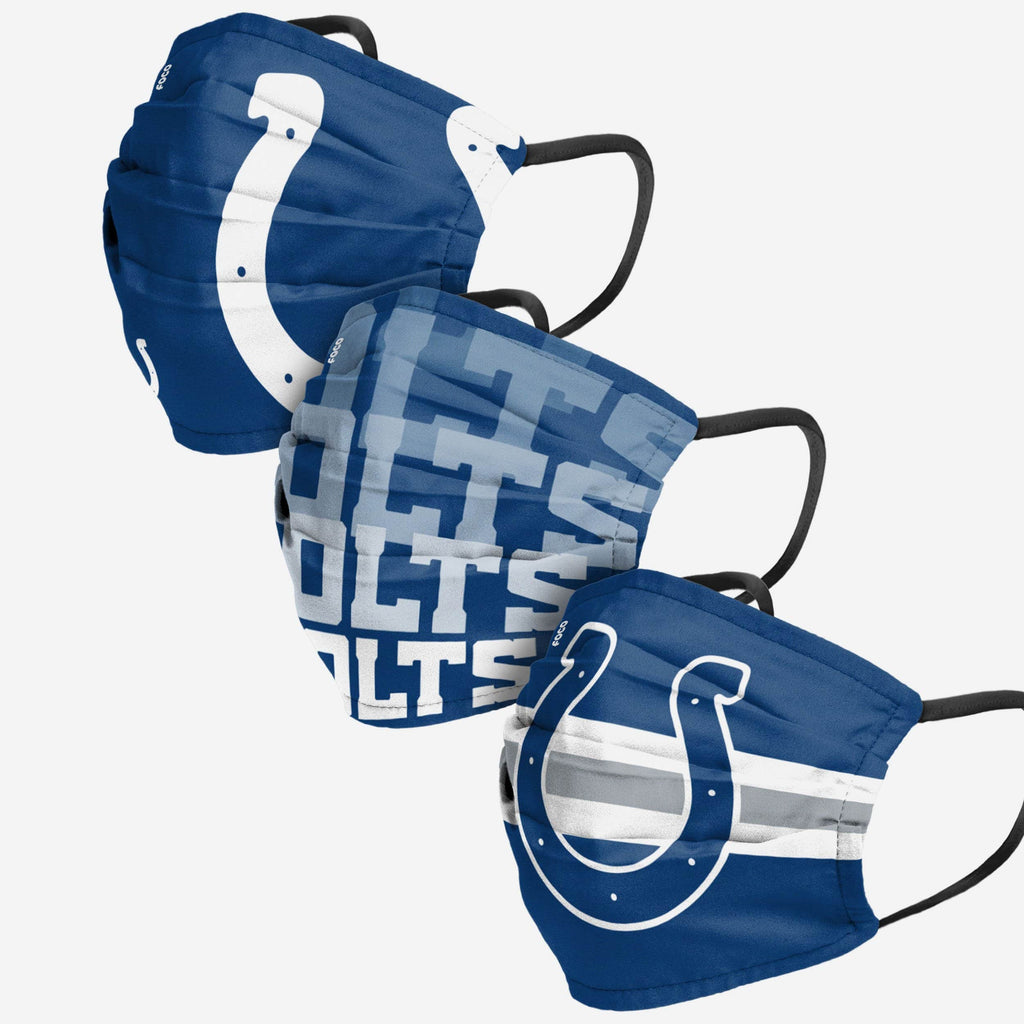 Indianapolis Colts Matchday 3 Pack Face Cover FOCO Adult - FOCO.com