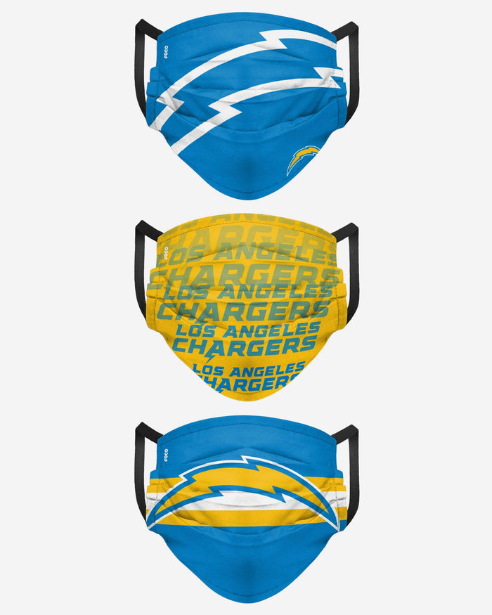 Los Angeles Chargers Matchday 3 Pack Face Cover FOCO - FOCO.com
