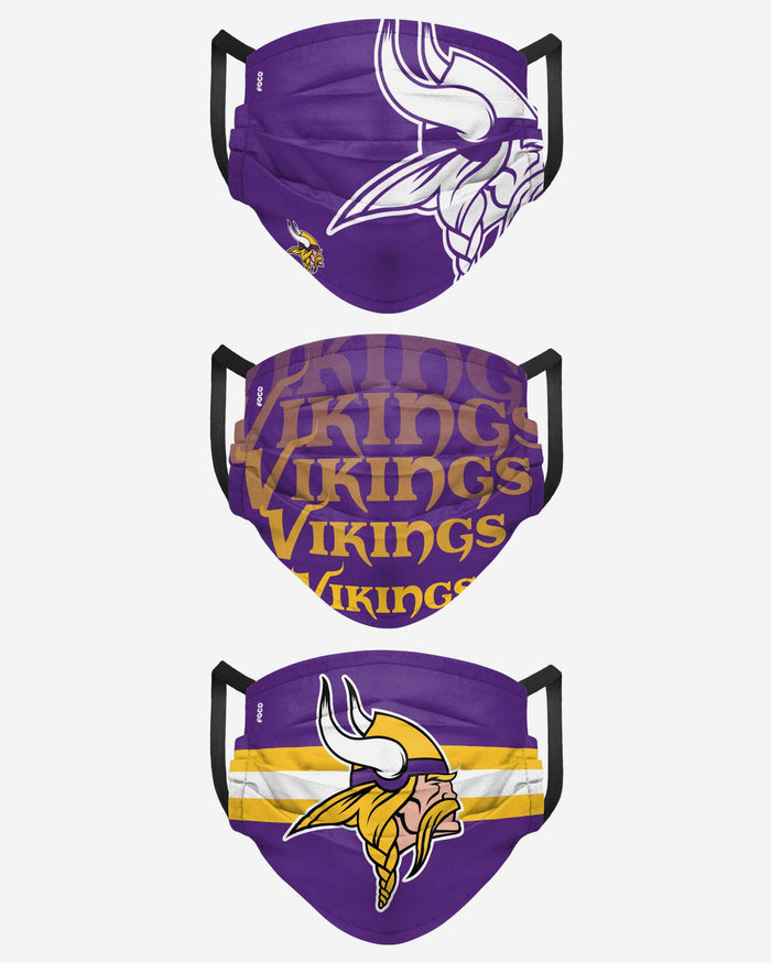 Minnesota Vikings Matchday 3 Pack Face Cover FOCO - FOCO.com