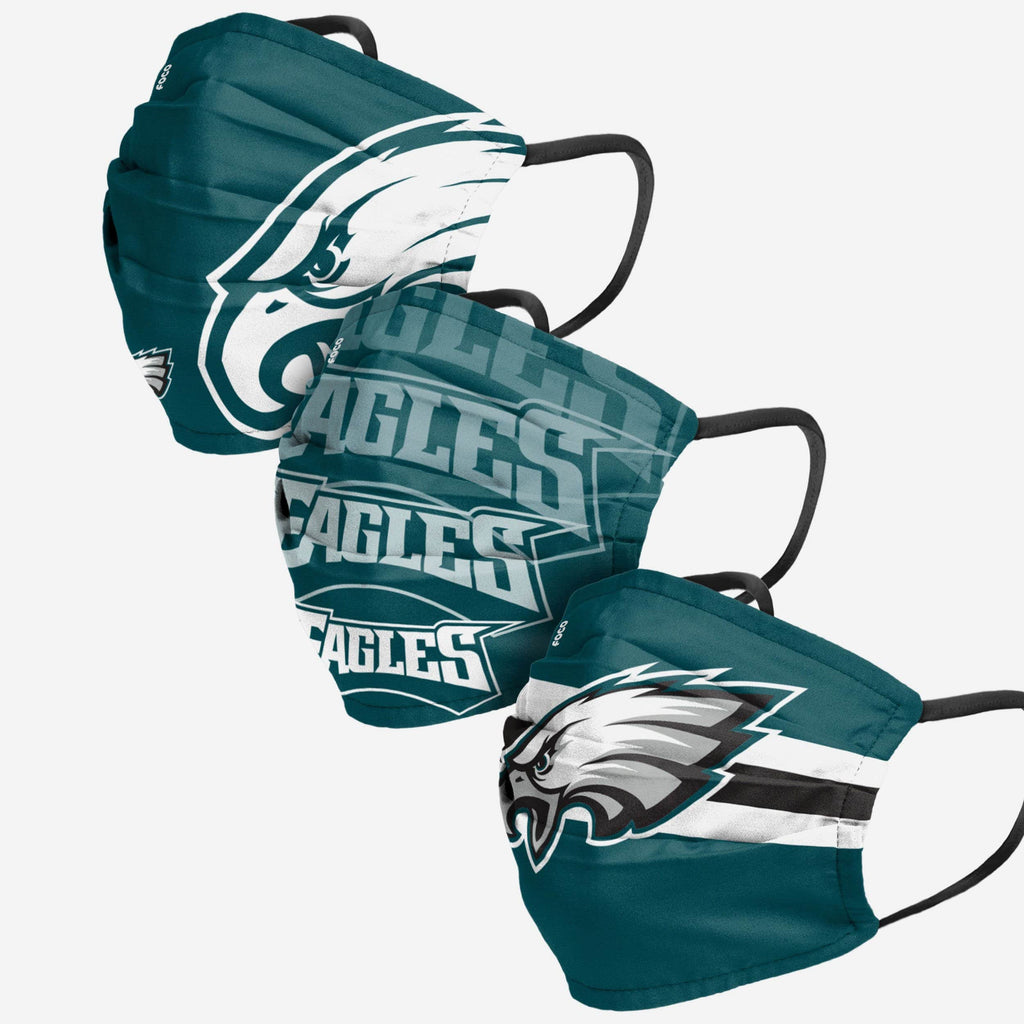 Philadelphia Eagles Matchday 3 Pack Face Cover FOCO Adult - FOCO.com