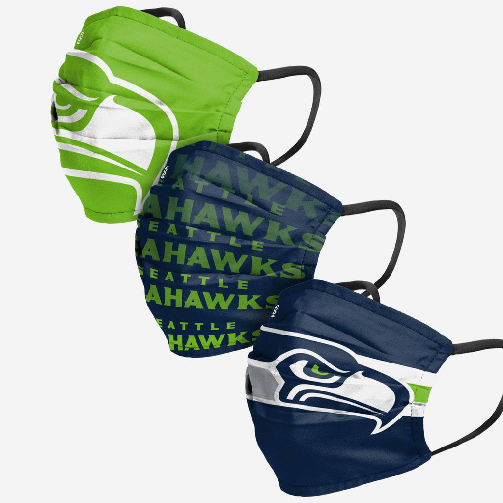 Seattle Seahawks Matchday 3 Pack Face Cover FOCO Adult - FOCO.com