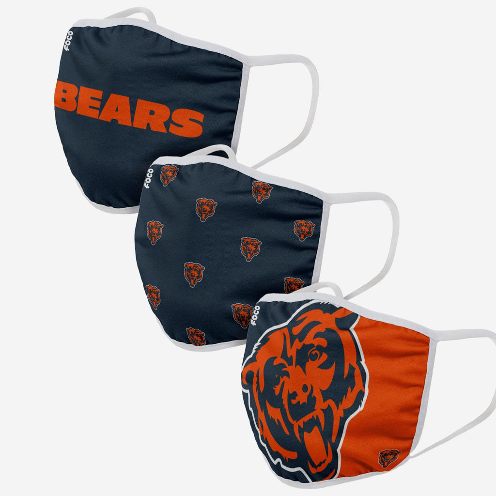 Chicago Bears 3 Pack Face Cover FOCO Adult - FOCO.com
