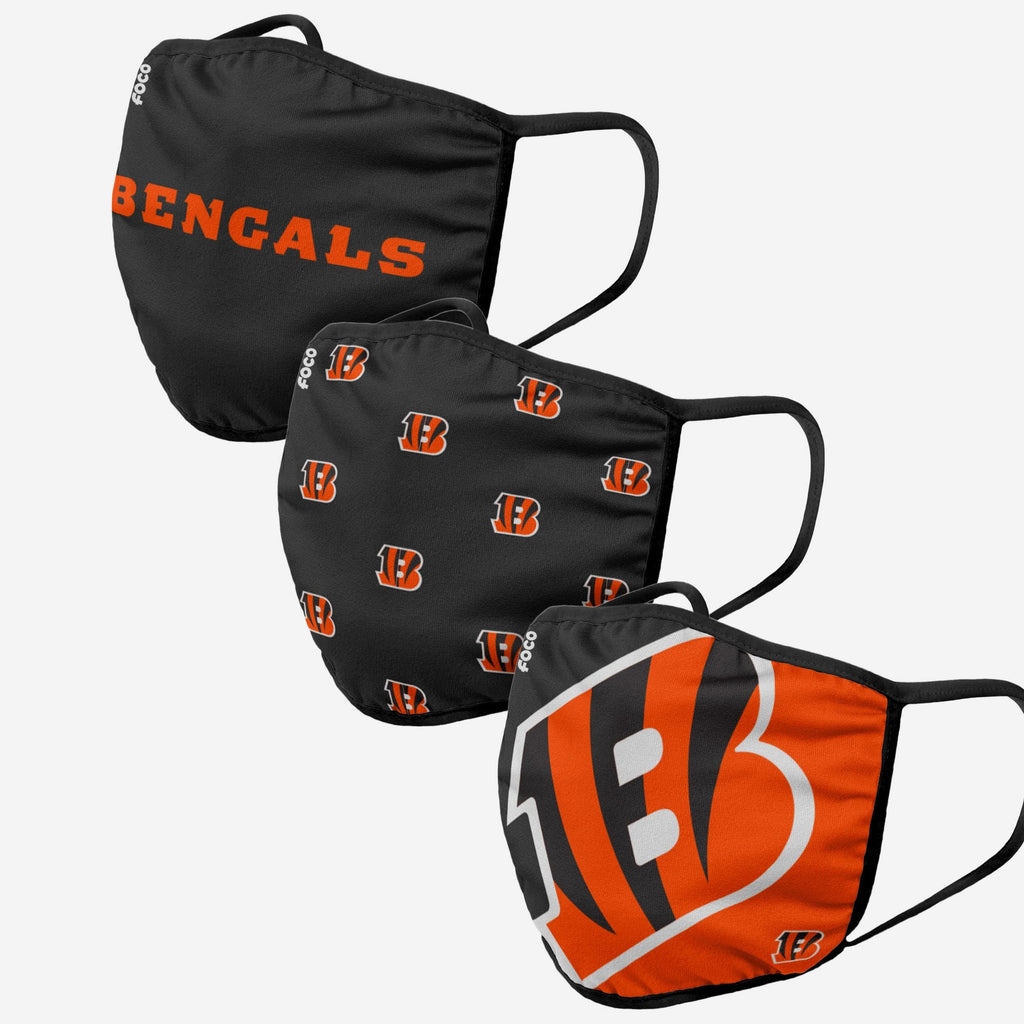 Cincinnati Bengals 3 Pack Face Cover FOCO Adult - FOCO.com