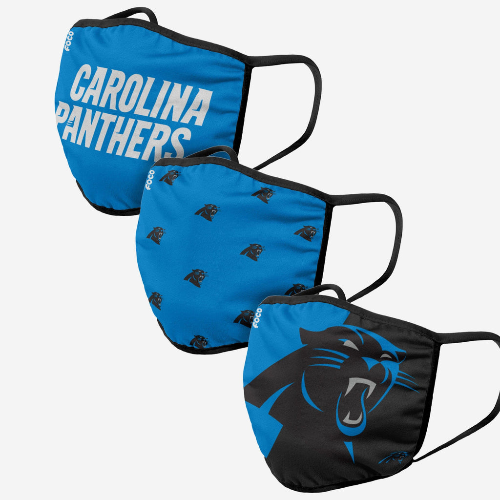 Carolina Panthers 3 Pack Face Cover FOCO Adult - FOCO.com