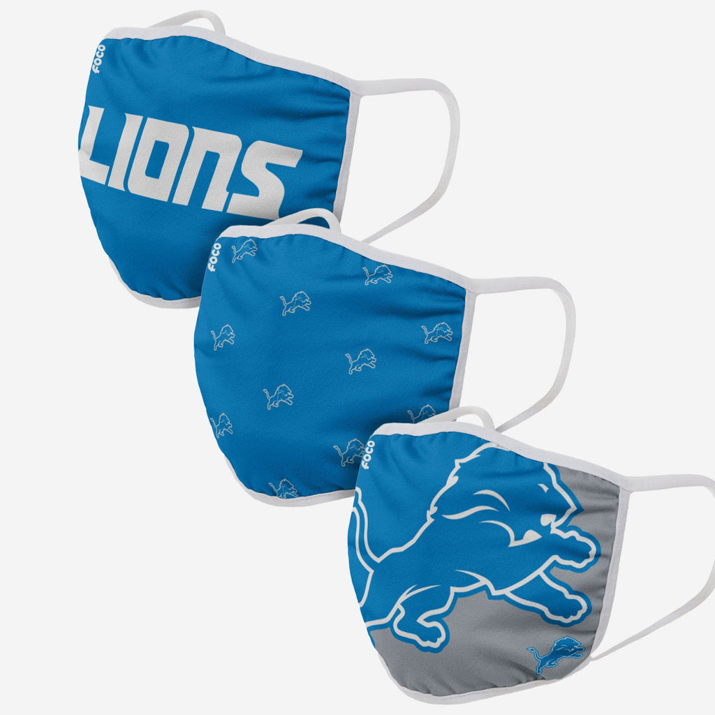 Detroit Lions 3 Pack Face Cover FOCO Adult - FOCO.com