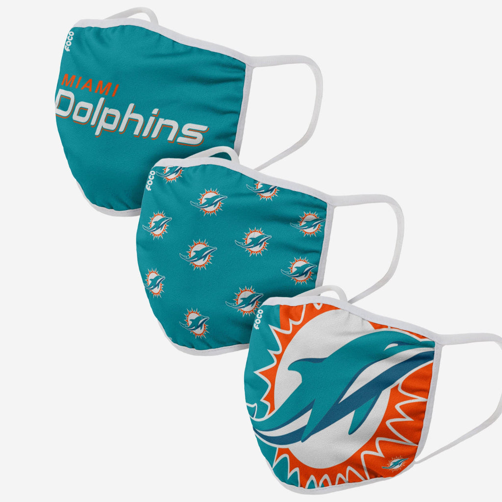 Miami Dolphins 3 Pack Face Cover FOCO Adult - FOCO.com
