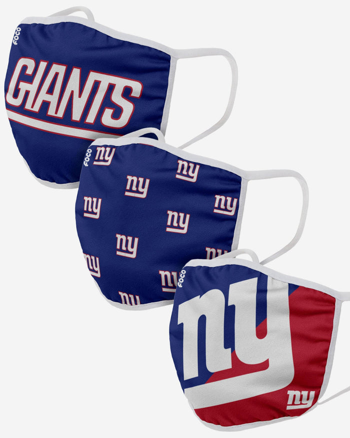New York Giants 3 Pack Face Cover FOCO Adult - FOCO.com