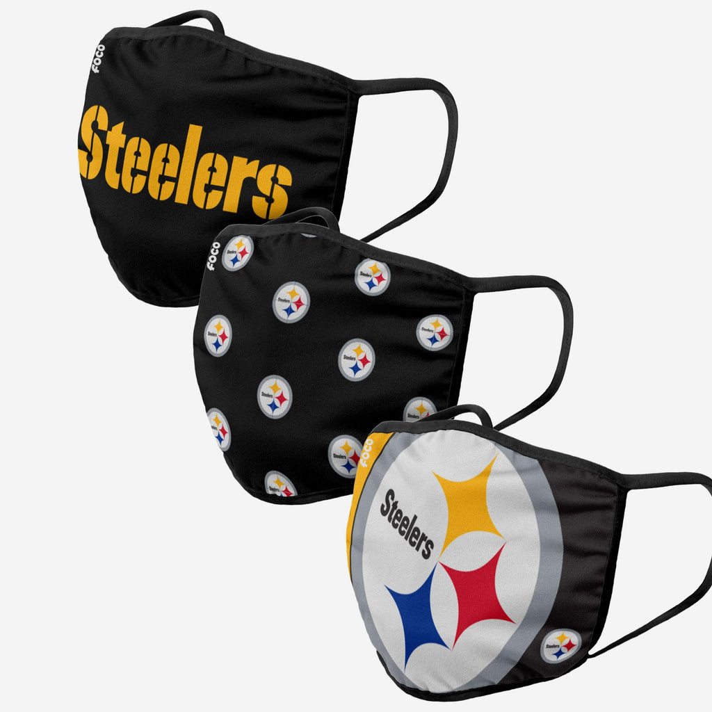 Pittsburgh Steelers 3 Pack Face Cover FOCO Adult - FOCO.com
