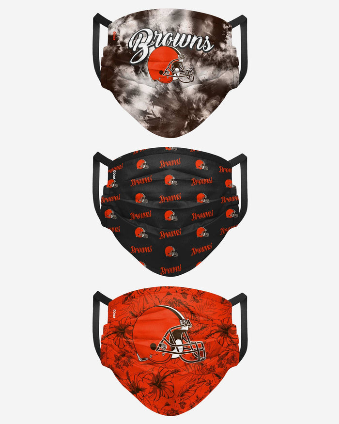Cleveland Browns Womens Matchday 3 Pack Face Cover FOCO - FOCO.com