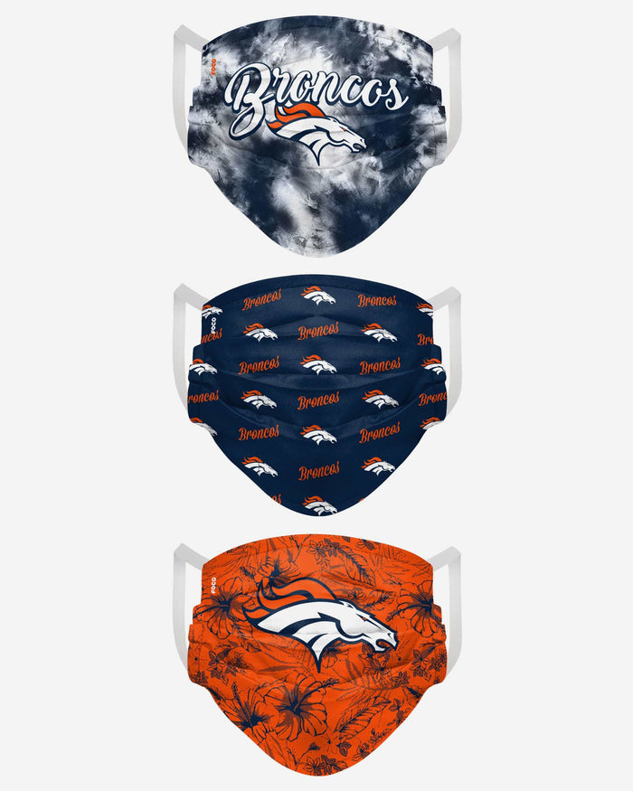 Denver Broncos Womens Matchday 3 Pack Face Cover FOCO - FOCO.com