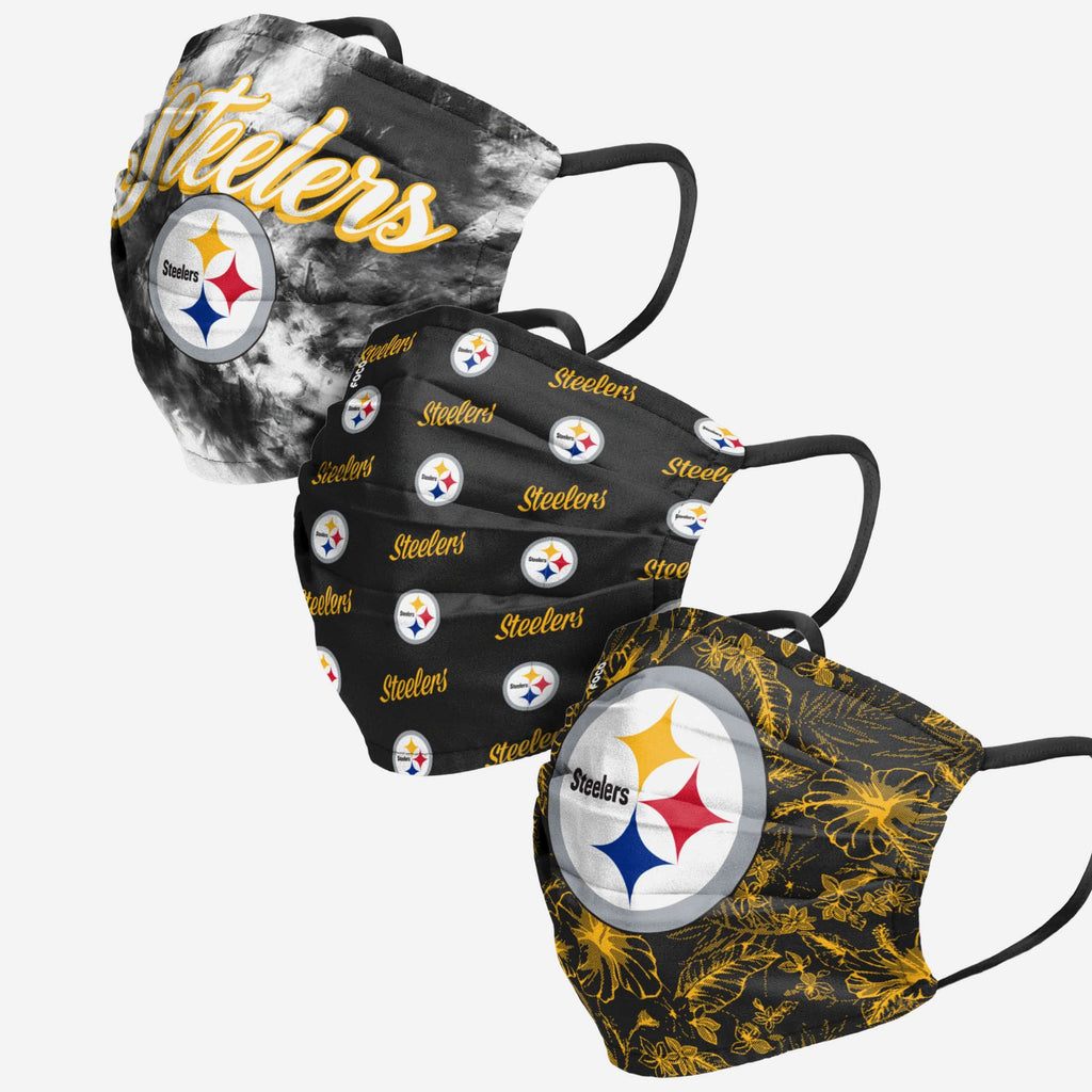 Pittsburgh Steelers Womens Matchday 3 Pack Face Cover FOCO - FOCO.com