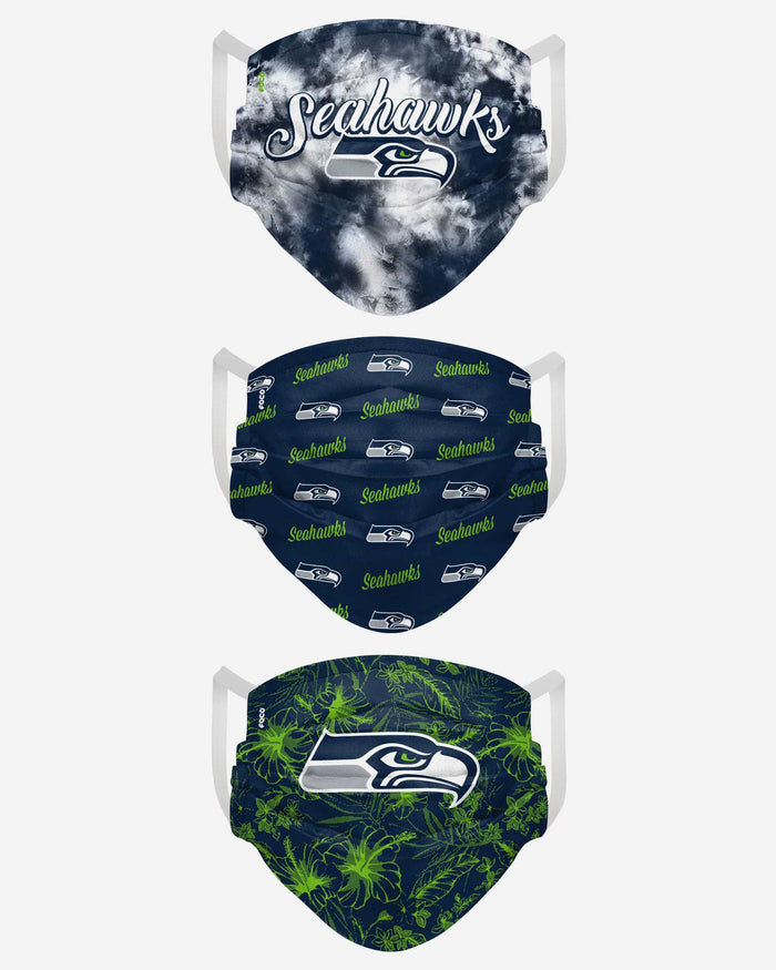 Seattle Seahawks Womens Matchday 3 Pack Face Cover FOCO - FOCO.com