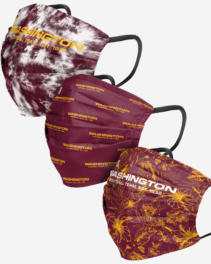 Washington Football Team Womens Matchday 3 Pack Face Cover FOCO - FOCO.com