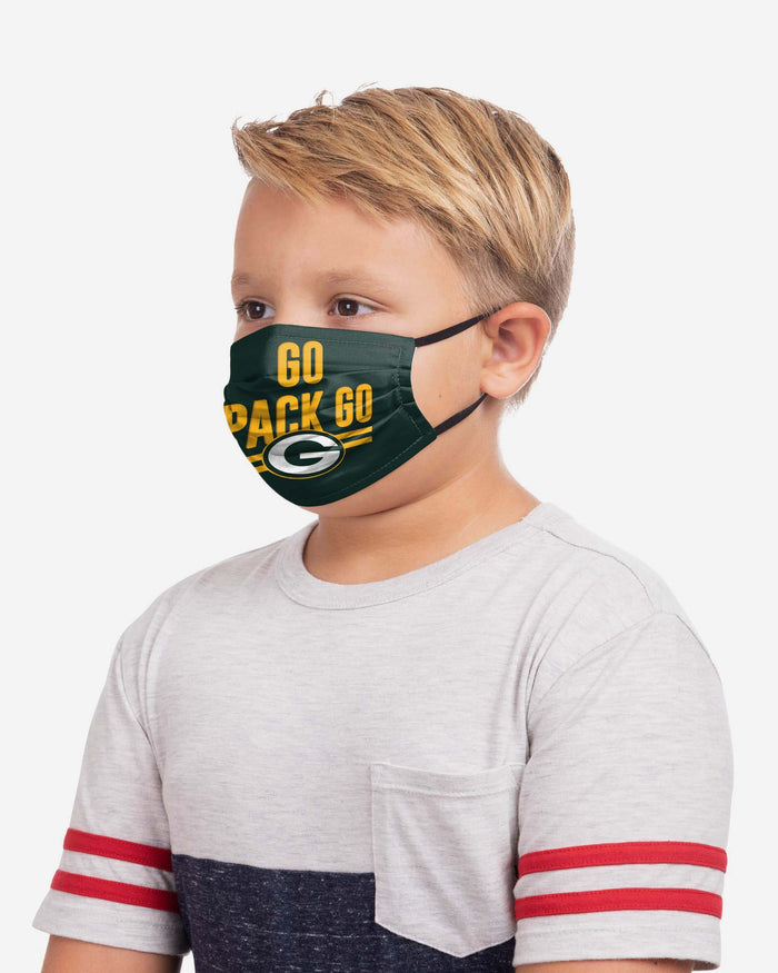 Green Bay Packers Youth Rising Stars Adjustable 5 Pack Face Cover FOCO - FOCO.com