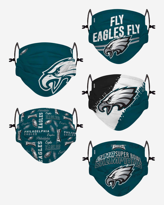 Philadelphia Eagles Youth Rising Stars Adjustable 5 Pack Face Cover FOCO - FOCO.com