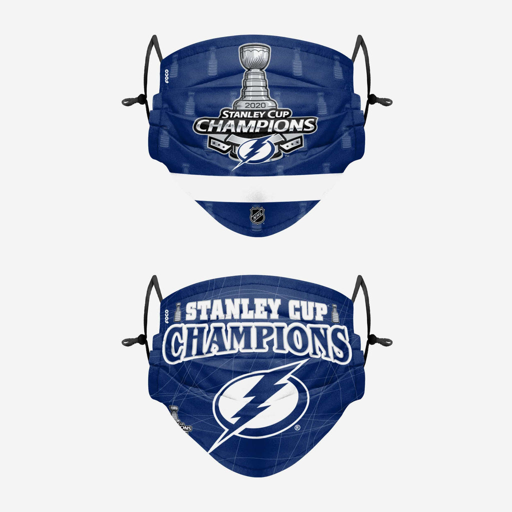 Tampa Bay Lightning 2020 Stanley Cup Champions Adjustable 2 Pack Face Cover FOCO - FOCO.com