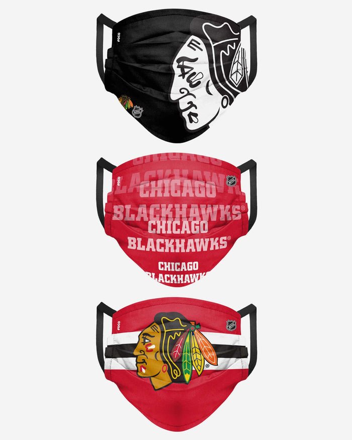Chicago Blackhawks Matchday 3 Pack Face Cover FOCO - FOCO.com