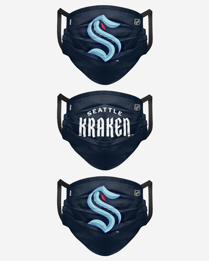 Seattle Kraken Matchday 3 Pack Face Cover FOCO - FOCO.com