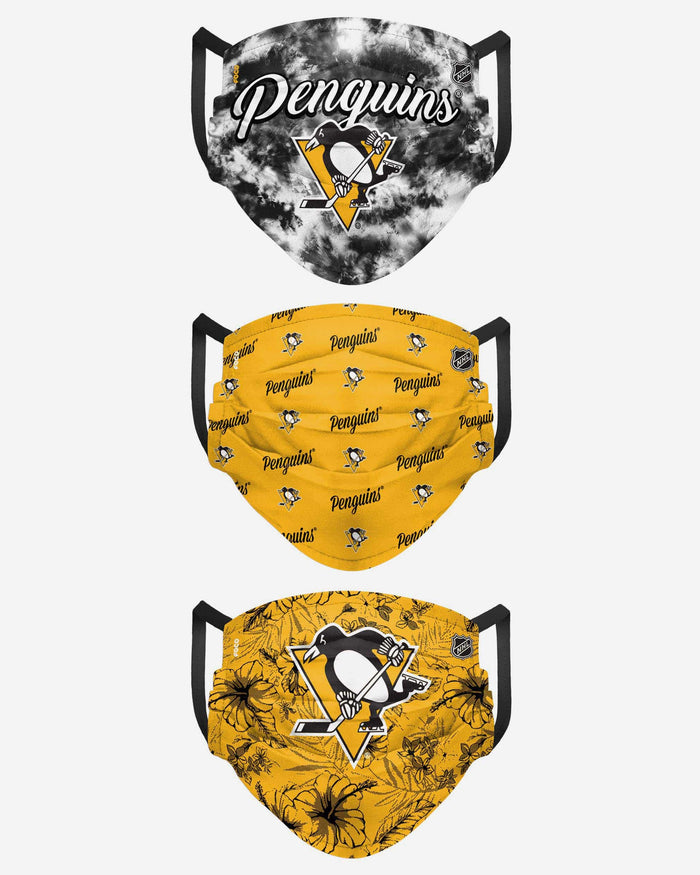 Pittsburgh Penguins Womens Matchday 3 Pack Face Cover FOCO - FOCO.com