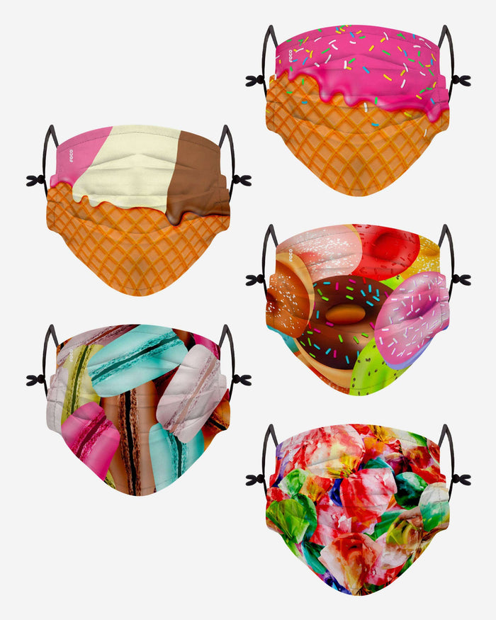 Dessert Youth Adjustable 5 Pack Face Cover FOCO - FOCO.com
