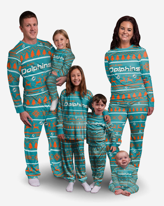 Miami Dolphins Toddler Family Holiday Pajamas FOCO - FOCO.com