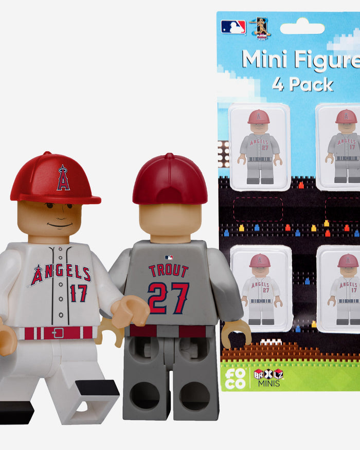 Shohei Ohtani and Mike Trout Los Angeles Angels 4 Pack BRXLZ Minifigure FOCO - FOCO.com