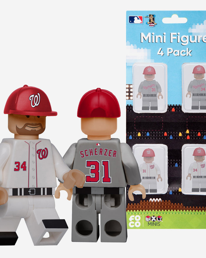 Max Scherzer and Bryce Harper Washington Nationals 4 Pack BRXLZ Minifigure FOCO - FOCO.com