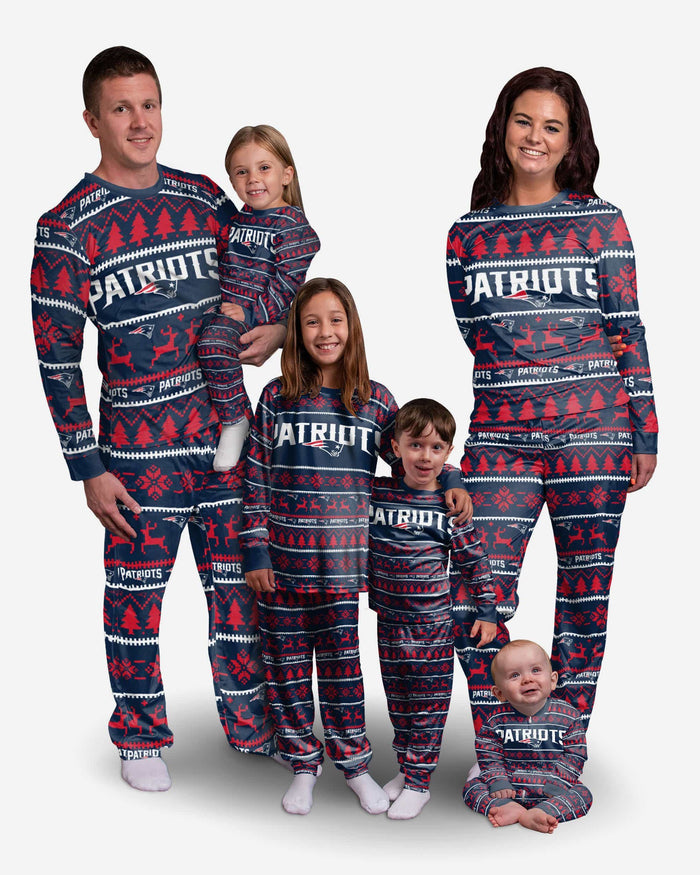 New England Patriots Youth Family Holiday Pajamas FOCO - FOCO.com