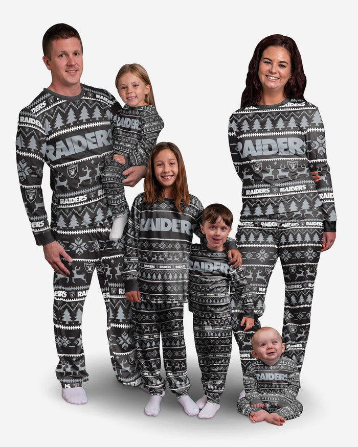Las Vegas Raiders Youth Family Holiday Pajamas FOCO - FOCO.com