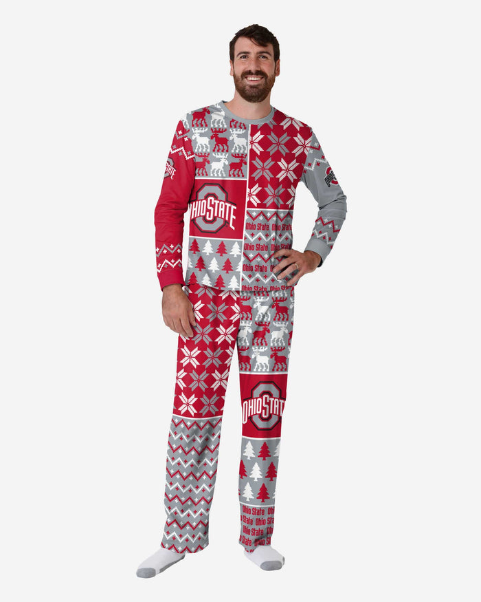Ohio State Buckeyes Mens Busy Block Family Holiday Pajamas FOCO S - FOCO.com